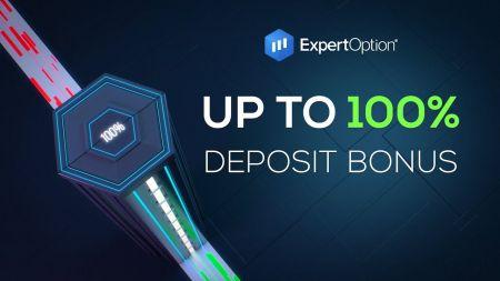 Promotion de bienvenue ExpertOption - Bonus de dépôt de 100% jusqu'à 500$